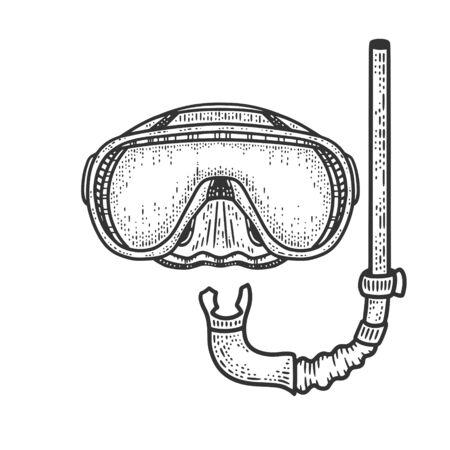diver mask and snorkel sketch engraving vector illustration. T-shirt apparel print design. Scratch board imitation. Black and white hand drawn image.