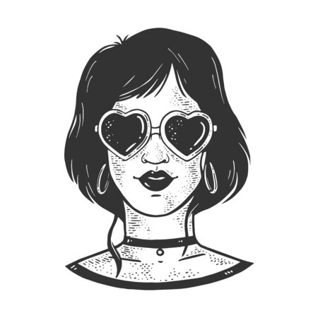 girl in sunglasses in form of heart sketch engraving vector illustration. T-shirt apparel print design. Scratch board imitation. Black and white hand drawn image. 일러스트
