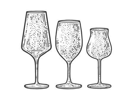 wine glasses set sketch engraving vector illustration. T-shirt apparel print design. Scratch board imitation. Black and white hand drawn image.