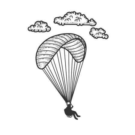 Paragliding sketch engraving vector illustration. T-shirt apparel print design. Scratch board imitation. Black and white hand drawn image.