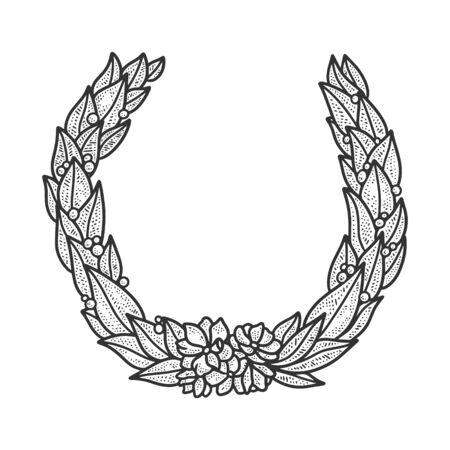 Laurel wreath sketch engraving vector illustration. T-shirt apparel print design. Scratch board imitation. Black and white hand drawn image.