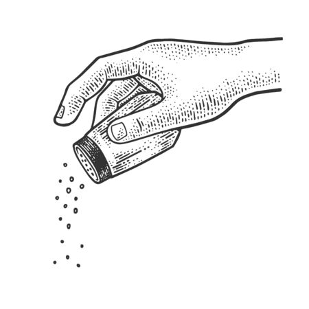 Salt and pepper shaker in hand sketch engraving vector illustration. T-shirt apparel print design. Scratch board imitation. Black and white hand drawn image.