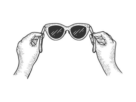 Glasses in hands sketch vintage engraving vector illustration. Scratch board style imitation. Black and white hand drawn image.