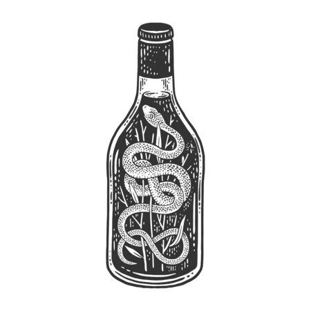 Snake wine sketch engraving vector illustration. T-shirt apparel print design. Scratch board imitation. Black and white hand drawn image. 일러스트