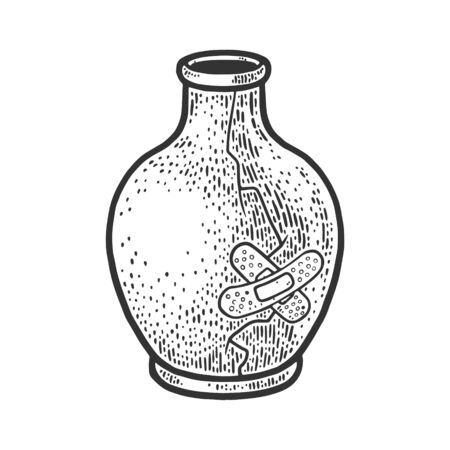 broken vase repaired by medical plaster sketch engraving vector illustration. T-shirt apparel print design. Scratch board imitation. Black and white hand drawn image.