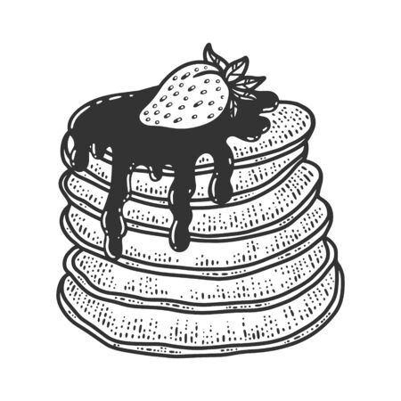 pancakes with syrup and strawberry sketch engraving vector illustration. T-shirt apparel print design. Scratch board imitation. Black and white hand drawn image.