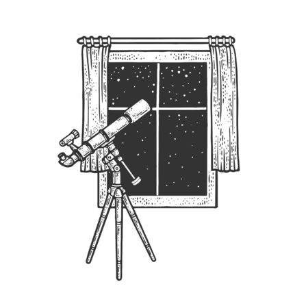 telescope and open window sketch engraving vector illustration. T-shirt apparel print design. Scratch board imitation. Black and white hand drawn image.