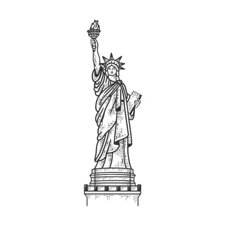 Statue of Liberty in New York sketch engraving vector illustration. T-shirt apparel print design. Scratch board imitation. Black and white hand drawn image.