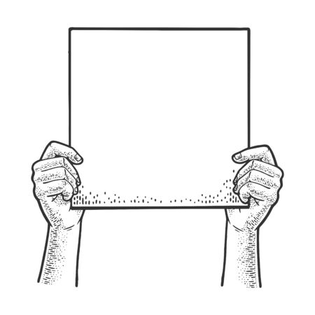 Blank poster in hands sketch engraving vector illustration. T-shirt apparel print design. Scratch board imitation. Black and white hand drawn image.