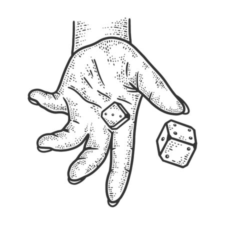 hand rolls dice sketch engraving vector illustration. T-shirt apparel print design. Scratch board imitation. Black and white hand drawn image. 일러스트