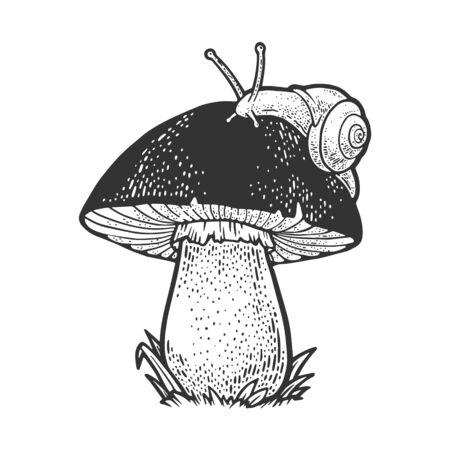 snail crawling on mushroom sketch engraving vector illustration. T-shirt apparel print design. Scratch board imitation. Black and white hand drawn image.