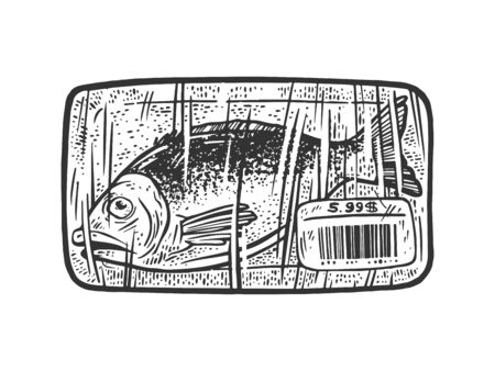 fish packed in plastic packaging with price tag and bar code sketch engraving vector illustration. T-shirt apparel print design. Scratch board imitation. Black and white hand drawn image.