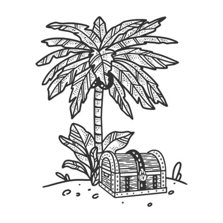 uninhabited island in ocean with palm tree and treasure chest sketch engraving vector illustration. T-shirt apparel print design. Scratch board imitation. Black and white hand drawn image. 일러스트