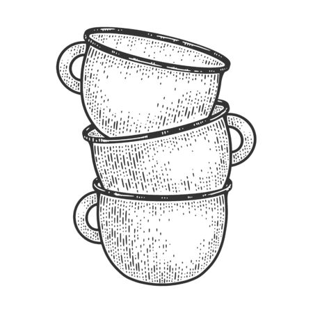 Chamber pot tower sketch engraving vector illustration. T-shirt apparel print design. Scratch board imitation. Black and white hand drawn image. 일러스트