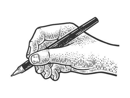 hand writes with a ballpoint pen sketch engraving vector illustration. T-shirt apparel print design. Scratch board imitation. Black and white hand drawn image.