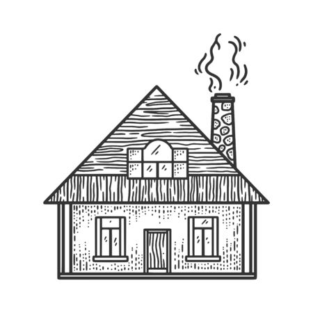 rural small house sketch engraving vector illustration. T-shirt apparel print design. Scratch board imitation. Black and white hand drawn image.