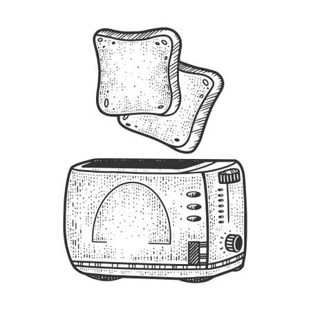 toasts fly up from the toaster sketch engraving vector illustration. T-shirt apparel print design. Scratch board imitation. Black and white hand drawn image.
