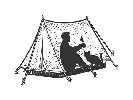 Man and cat in camping tent sketch engraving vector illustration. T-shirt apparel print design. Scratch board imitation. Black and white hand drawn image. Illustration