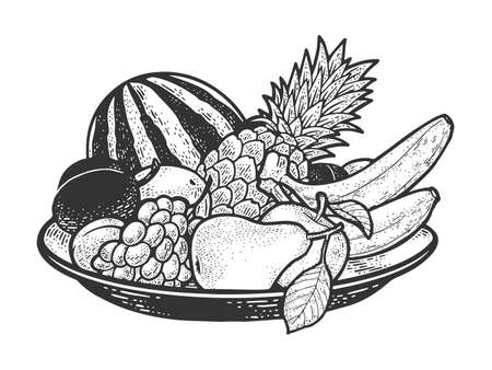 fruit plate sketch engraving vector illustration. T-shirt apparel print design. Scratch board imitation. Black and white hand drawn image.