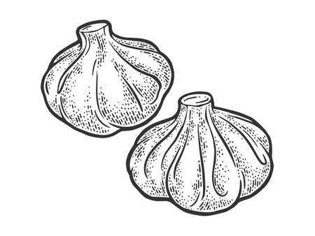 Khinkali Georgian dumpling sketch engraving vector illustration. T-shirt apparel print design. Scratch board imitation. Black and white hand drawn image. 일러스트