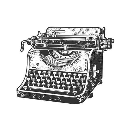 typewriter sketch engraving vector illustration. T-shirt apparel print design. Scratch board imitation. Black and white hand drawn image.