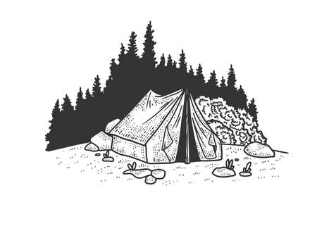 tourist tent in the forest sketch engraving vector illustration. T-shirt apparel print design. Scratch board imitation. Black and white hand drawn image.