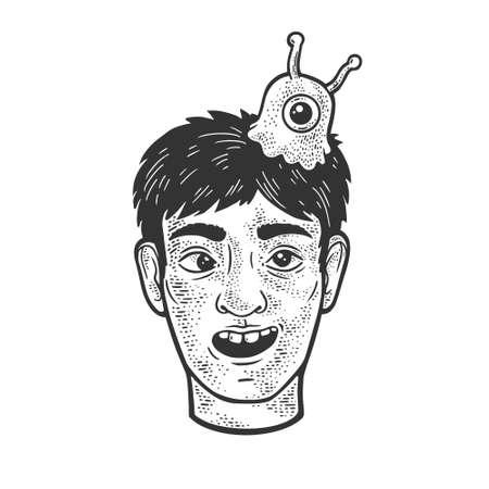Man with brain slug sketch engraving vector illustration. T-shirt apparel print design. Scratch board imitation. Black and white hand drawn image.