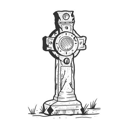 Tombstone Cross sketch engraving vector illustration. T-shirt apparel print design. Scratch board imitation. Black and white hand drawn image. Vettoriali