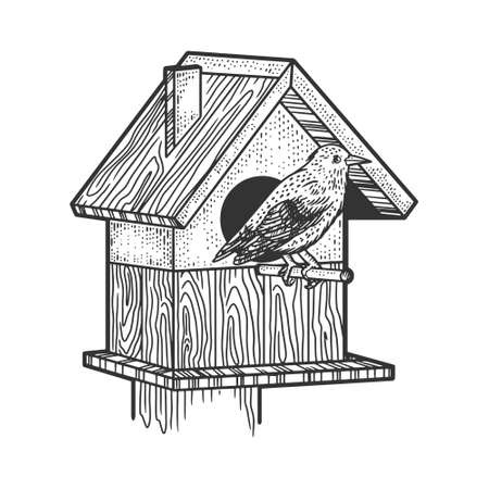 starling bird near the birdhouse sketch engraving vector illustration. T-shirt apparel print design. Scratch board imitation. Black and white hand drawn image.