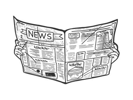 Newspaper in hands sketch engraving vector illustration. T-shirt apparel print design. Scratch board imitation. Black and white hand drawn image.