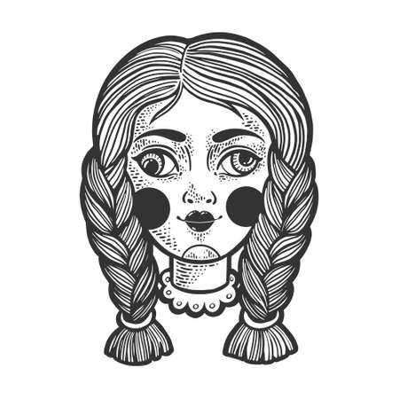 squint cockeyed puppet doll head sketch engraving vector illustration. T-shirt apparel print design. Scratch board imitation. Black and white hand drawn image.