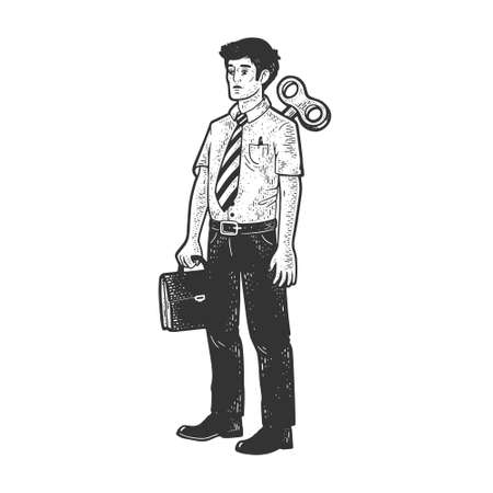 clockwork office worker businessman toy sketch engraving vector illustration. T-shirt apparel print design. Scratch board imitation. Black and white hand drawn image. Vektorgrafik