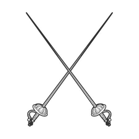 Crossed epee swords sketch engraving vector illustration. T-shirt apparel print design. Scratch board imitation. Black and white hand drawn image.