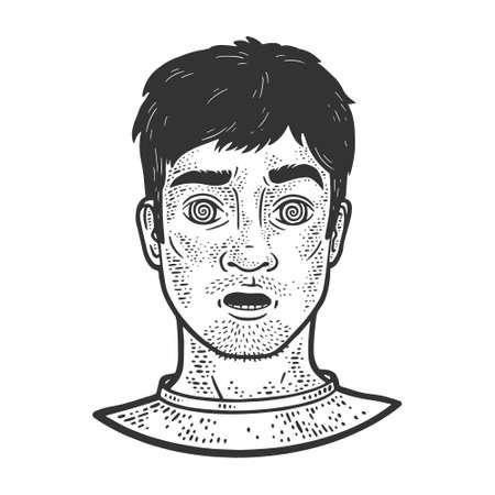 hypnotized man sketch engraving vector illustration. T-shirt apparel print design. Scratch board imitation. Black and white hand drawn image.