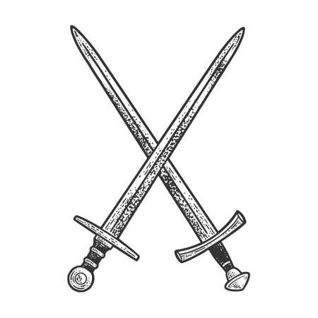 Crossed swords sketch engraving vector illustration. T-shirt apparel print design. Scratch board imitation. Black and white hand drawn image.