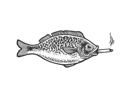 fish smokes a cigarette sketch engraving vector illustration. T-shirt apparel print design. Scratch board imitation. Black and white hand drawn image.