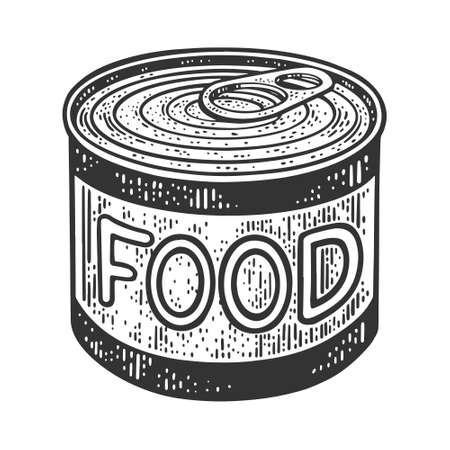 canned food tin sketch engraving vector illustration. T-shirt apparel print design. Scratch board imitation. Black and white hand drawn image. Ilustración de vector