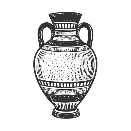 Ancient Greek Amphora sketch engraving vector illustration. T-shirt apparel print design. Scratch board imitation. Black and white hand drawn image.