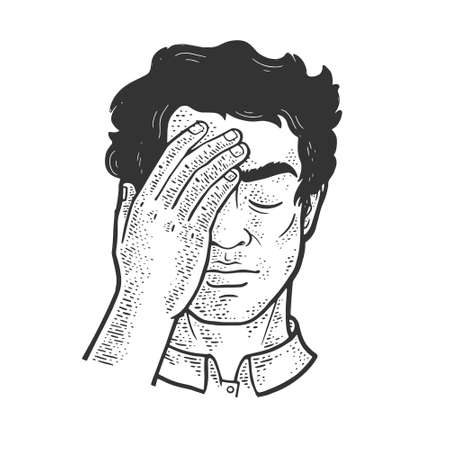 Facepalm gesture sketch engraving vector illustration. T-shirt apparel print design. Scratch board imitation. Black and white hand drawn image. Illustration