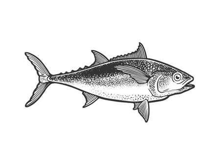 Tuna tunny fish sketch engraving vector illustration. T-shirt apparel print design. Scratch board imitation. Black and white hand drawn image.