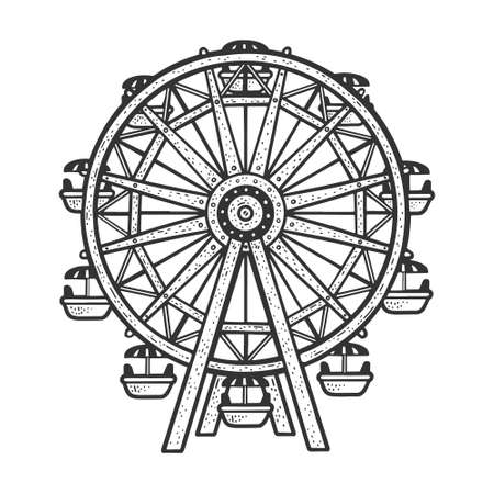 Ferris wheel sketch engraving vector illustration. T-shirt apparel print design. Scratch board imitation. Black and white hand drawn image.
