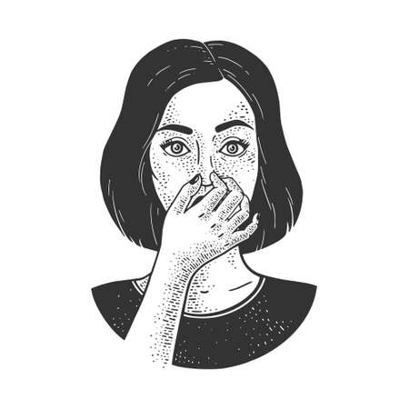 Bad smell stench stink. Girl holding nose with fingers sketch engraving vector illustration. T-shirt apparel print design. Scratch board imitation. Black and white hand drawn image.