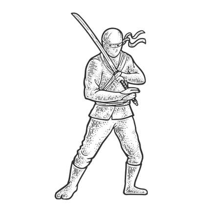 Ninja warrior with katana sword sketch engraving vector illustration. T-shirt apparel print design. Scratch board imitation. Black and white hand drawn image.