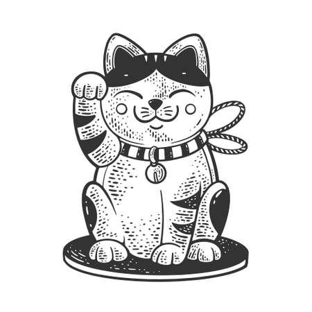 Maneki neko Japanese cat sketch engraving vector illustration. T-shirt apparel print design. Scratch board imitation. Black and white hand drawn image.