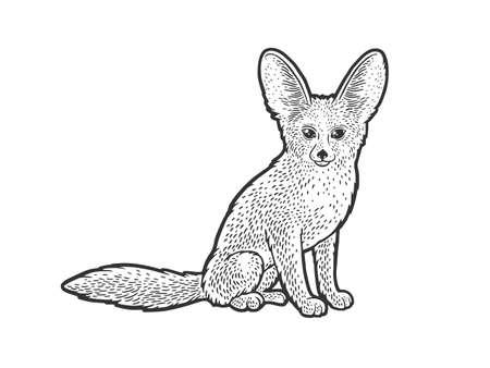 Fennec fox desert animal sketch engraving vector illustration. T-shirt apparel print design. Scratch board imitation. Black and white hand drawn image. Illusztráció