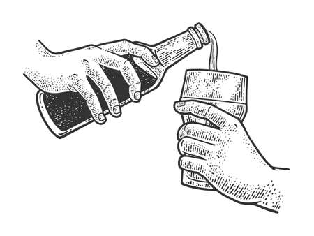 pouring beer from bottle into glass sketch engraving vector illustration. T-shirt apparel print design. Scratch board imitation. Black and white hand drawn image. 向量圖像