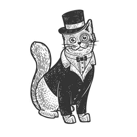 Cat in tuxedo blazer coat top hat and glasses sketch engraving vector illustration. T-shirt apparel print design. Scratch board imitation. Black and white hand drawn image. 向量圖像