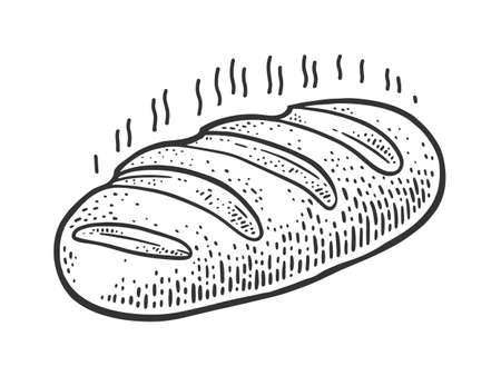 fresh hot steaming loaf of bread sketch engraving vector illustration. T-shirt apparel print design. Scratch board imitation. Black and white hand drawn image.