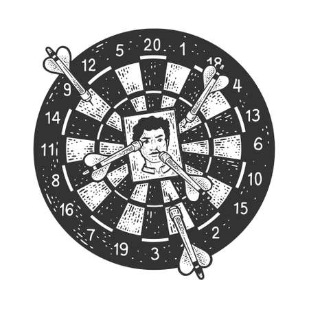 Darts with photo sketch engraving vector illustration. T-shirt apparel print design. Scratch board imitation. Black and white hand drawn image.