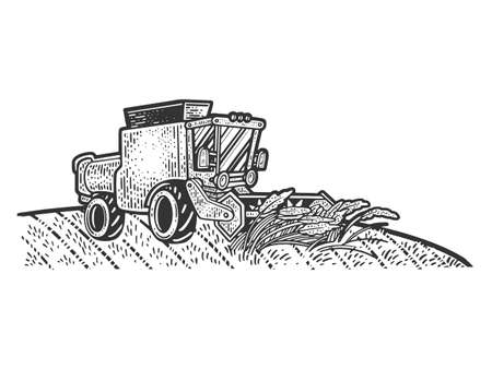 combine harvester in wheat field sketch engraving vector illustration. T-shirt apparel print design. Scratch board imitation. Black and white hand drawn image.